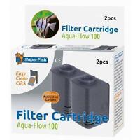 Superfish Aquarium Fish Tank Aqua Flow 100 Internal Carbon Filter Cartridges 2pc