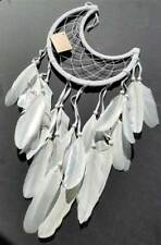 """Half Moon Crescent White Dream Catcher with Feathers Beads, Large 8-1/2"""" Hoop"""