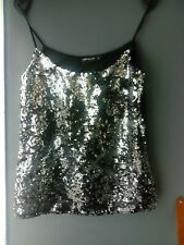 WOMENS INTERNACIONALE  BLACK AND SLIVER SEQUIN VEST TOP /STRAPPY TOP UK 10