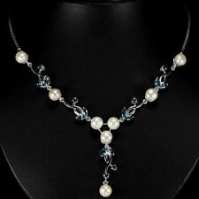 Necklace London Blue Topaz and Pearl Genuine Natural Gem Sterling Silver 18 Inch