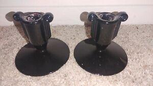 "Vintage Fostoria Art Deco Scroll Black Glass Candlesticks Candle Holder Pair 4"""