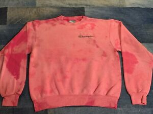 Vintage Champion Logo Faded Pink Pullover 90s distressed Eco sweatshirt 40 Med