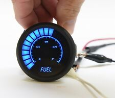 "2 1/16"" Universal Analog Fuel Gauge Blue Leds Black Bezel 52mm Made In The Usa"