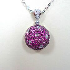 """14k White Gold Sapphire Pendant With Diamonds and 18"""" Chain"""