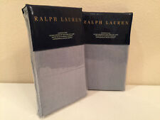 2 Ralph Lauren Madalena European Euro Pillow Shams Wetherly Sky Blue Linen