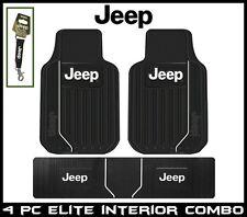 3 Pc Front + Rear Runner Jeep Elite Floor Mats Plasticolor + Strap Key Chain USA