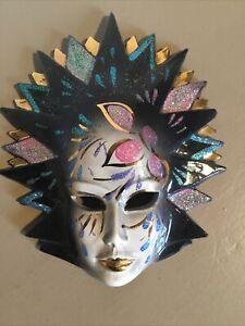 Enthralling Vintage Ceramic Masquerade Face Mask Wall Plaque #6257