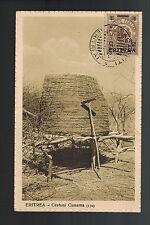 1932 Saganetti Eritrea Italy RPPC Postcard Cover Native Hut and Hoe
