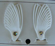 "Vintage Earrings - White ""2 Wing"" Shaped Clip-on Earrings with crystal"