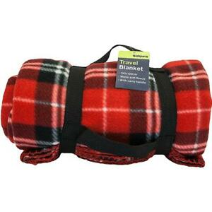 Soft Fleece Tartan Travel Blanket With Carry Handle Picnic Car Rug 180 x 120cm
