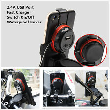 Handlebar Scooter Mirror Real View Phone Mount Holder Stand Charger 2.4A USB