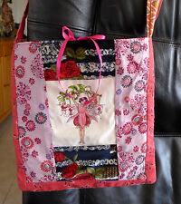 Handmade Quilted Medium Bag Pink White Cotton Fabric Purse 12 X 13 inch Tote