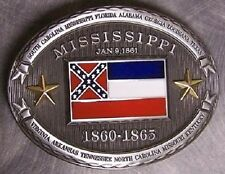 Pewter Belt Buckle Mississippi State Flag NEW CSA