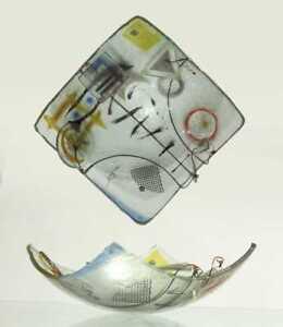 American Peter Mangan Glass, Steel, Copper and Brass Studio Glass Center Bowl