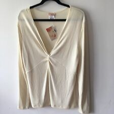 KIM&Co Ivory Cream Ladies Blouse 18 20 Stretch Work Office Smart Casual