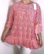 NEW Stars Pink Lace Stretchy Tunic Top Frills Fully Lined Long Fits Sizes 16-20