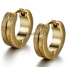 Men's Women's Gold Tone Stainless Steel Matte Charm Hoop Huggie Earrings 2PCS