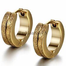 Men's Women's Gold Tone Stainless Steel Matte Charm Hoop Huggie Earrings 2PCS