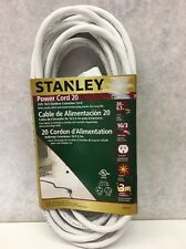 Stanley Grounded Outdoor Extension Power Cord, 20-Feet, White
