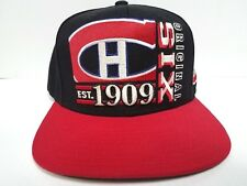Montreal Canadiens Cap Flat Brim CCM Snapback Original Six Black Hat NHL