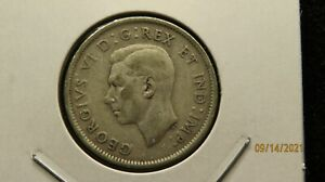 1947 with dot Canada King George VI 25C Silver 28