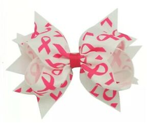 """NEW """"BREAST CANCER"""" Ribbon Hairbow Alligator Clips Girls Hair Bows 4.5 Inch Pink"""