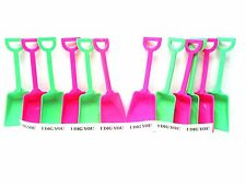 30  Toy Sand Beach Shovels 15 ea Lime & Pink & I Dig You Stickers Mfg in the USA