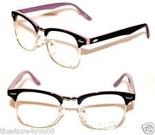 Wayfarer Soho Glasses black Silver Purple Clubmaster Vintage retro Clear Lenses