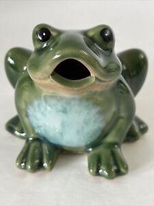 NEW Cute Fat Green Ceramic Garden Decor Frog Figurine Sitting Relaxing