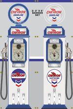 GAS PUMP SET CHEVRON GAS STATION OLD TOKHEIM DISPLAY BANNER SIGN ART 2- 2' X 6'