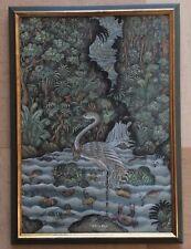 Bali Signé Sudiarsa (Up) Oiseau Échassier Héron?Huile Sur Toile StyleNaturaliste