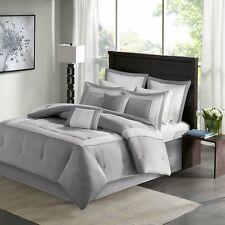 Beautiful Grey Aqua Border Fretwork Embroidered Cal King Queen 8 pcs Bedding Set