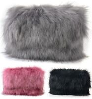 New Ladies Fluffy Designer Feather Clutch Faux Fur Bag Purse With Chain and Flap