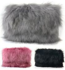New Ladies Fluffy Design Feather Clutch Faux Fur Bag Purse With Chain and Flap