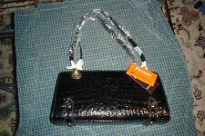 Pursuer Leatheroid  Aligator Glossy Black Fashion Purse diophy trade co. ltd