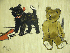 Cecil Aldin c 1900 BLACK PUPPY and Teddy Bear Playing with Shoe DOG Print Matted