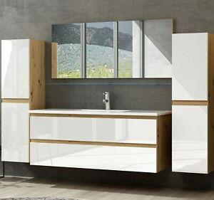 Badmöbel Set Eiche Weiß Badezimmermöbel Hochschrank Waschtisch Spiegel 60 90 120