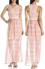 Calvin Klein Women's V-neck Porcelain Pink Rose/Beige Latte Chiffon Maxi Dress 8