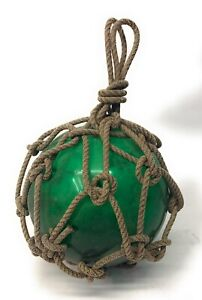 "8"" Diameter Emerald Green Glass Handle Netted Fishing Float Buoy"