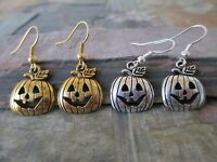 Silver & Gold Halloween Harvest Pumpkin Lot of 2 Pairs Artisan Earrings-Wicca