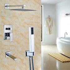 "Bath 3-way Mixer 12"" Rainfall Shower Set Tub Spout Tap + Handheld Spray Chrome"