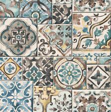 10m Wallpaper Moroccan Teal Yellow Rust Blue on Cream Faux Marrakesh Tiles rolls