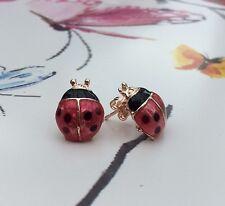Free Gift Bag Gold Plated Ladybird Stud Earrings Jewellery Xmas Cute Animals