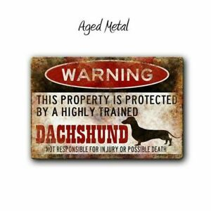 Stylish Vintage Funny Dachshund Warning Tin Sign Wall Plate Plaques 12 X 8 Inch