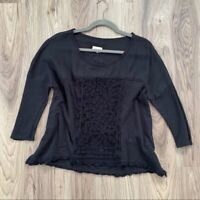Anthropologie Meadow Rue Black Lace Front Top Shirt Blouse Size Small