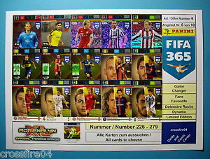 Panini Adrenalyn XL FIFA 365 2016 - FF, Def, Game Changer-  Alle Nr. 226 - 279
