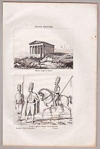 Athen - Tempel - Griechenland - Stich, Kupferstich 1837