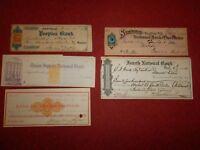 5 NEW YORK Bank Checks   1860-1880s  -  Pine Plains