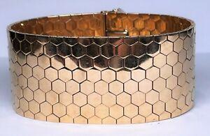 Vintage Estate 18K Yellow Gold 32mm Wide Bracelet Geometrical Design 83 Grams
