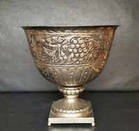 "Antique Large Metal Planter. Silver Colored, Pre-Owned. 9 1/2"" Tall."